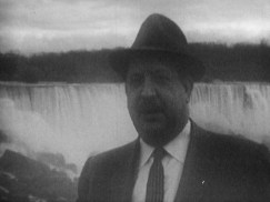 a man in a suit and hat standing into front of a waterfall, looking into the camera