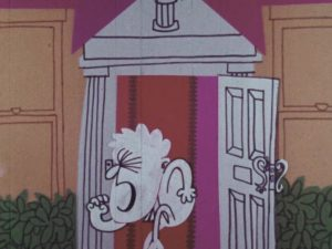 White cartoon boy walking about of a white door with a white pillars symbol on the top of the door