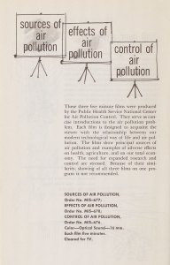 Page of a pamphlet advertising a series of films titled Sources, Effects, and Control of Air Pollution..