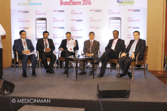 CEO RT (L-R) Darshan Patel - Partner, PwC; Krishna Singh - Founder-CEO, GlobalSpace Technologies; Vikas Dandekar - Editor Pharma, ET; YS Prabhakar - CEO, Sutures India; CT Renganathan - Managing Director, RPG LifeSciences; Ali Sleiman - General Manager India, Merck Serono
