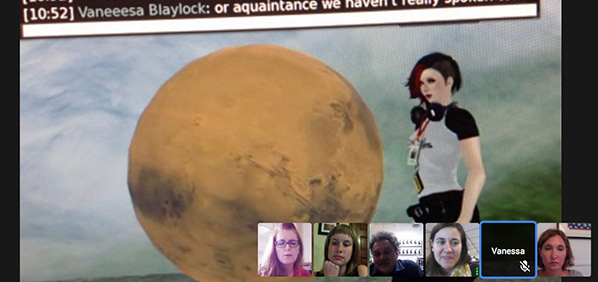 Screen Cap of Google Hangout by 6 teammates in the Stanford Online / NovoED course Practice Based Research in the Arts
