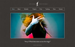 Artist Website Challenge: screencap of Amy O'Neil's artist's website home page