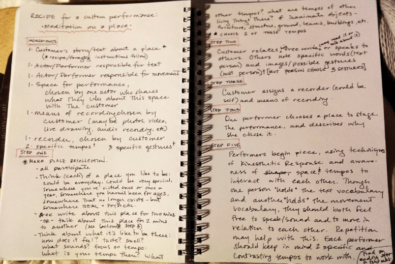 photo of my workshop outline for creating a short spontaneous performance