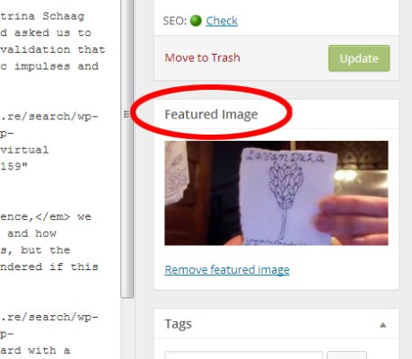 "screencap of WordPress backend ""featured image"" panel"