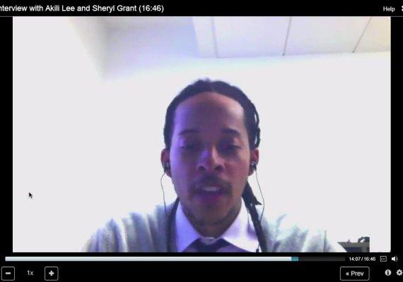 screencap of video hangout between Cathy N. Davidson and Akili Lee