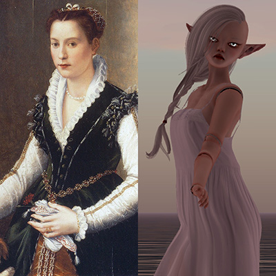 image diptych: Isabella Medici in 1564 and Isabella Medici reincarnated in 2014
