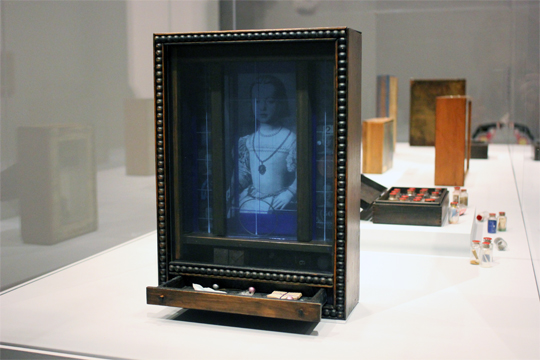 a box by Joseph Cornell in a glass case in a museum. The box features my sister Bia Medici