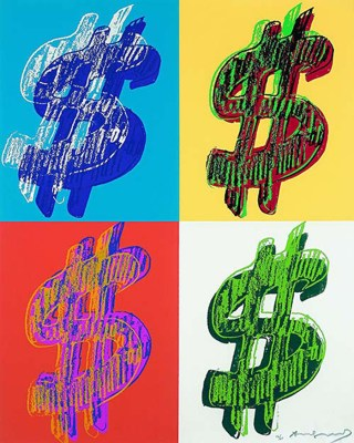 4 paintings of Dollar Signs by Andy WArhol