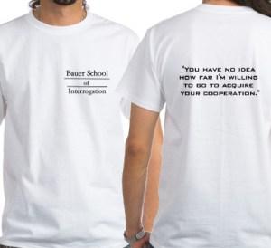 "photo of a man wearing a ""Jack Bauer School of Interrogation"" t-shirt"
