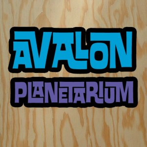 Avalon Planetarium logotype over plywood