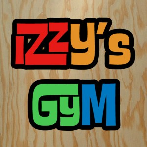 "Logotype for ""Izzy's Gym"" over plywood"