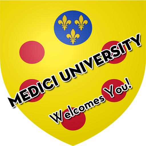 "Medici University coat of arms with the text ""Medici University Welcomes You!"""