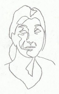 contour drawing of a face.