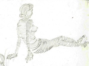 contour drawing of a female figure seated on the ground.