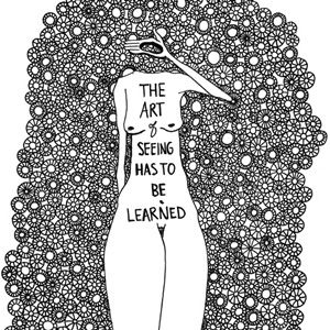 "illustration with the caption, ""The art of seeing has to be learned"""
