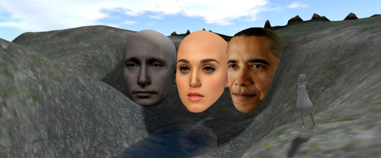 Giant heads of Vladimir Putin, Katy Perry, and Barack Obama, carved in the fact of a mountain at the head of a river in the southwest corner of Medici University at LEA 23 in Second Life
