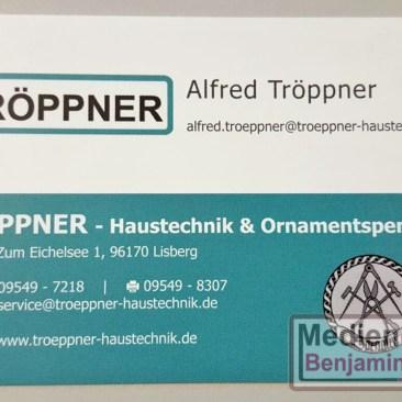 Visitenkarte Fa. Tröppner - Haustechnik & Ornamentspenglerei | Vorderseite Alfred Tröppner