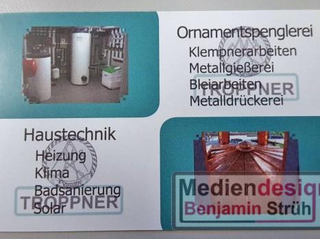 Visitenkarte Fa. Tröppner - Haustechnik & Ornamentspenglerei | Rückseite
