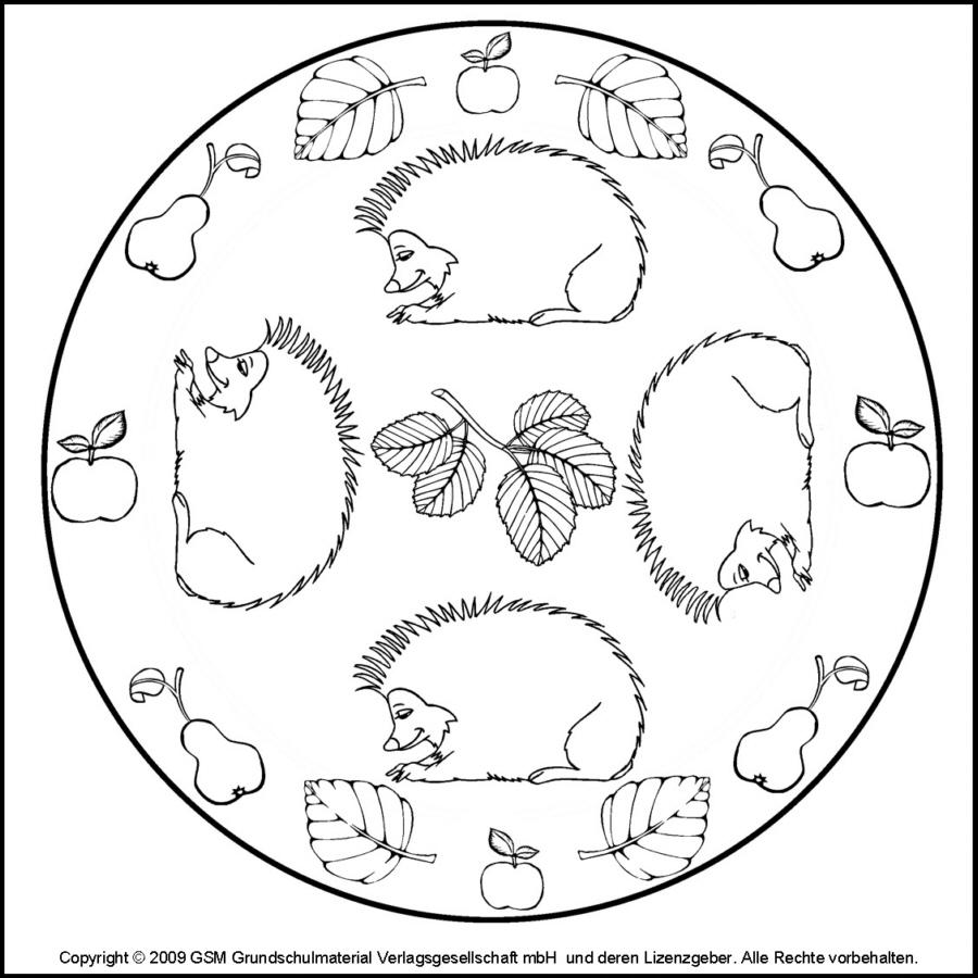 Herbst-Mandala Igel 1 - Medienwerkstatt-Wissen © 2006-2017