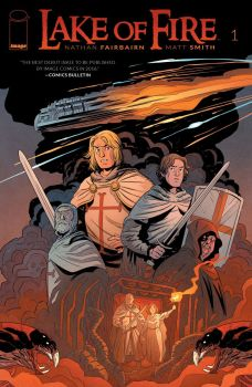Lake of Fire #1, by Nathan Fairbairn and Matt Smith (2016): features Albigensian crusaders, a Cathar heretic and alien invaders in the year 1220