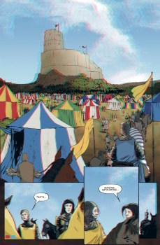 On Dangerous Ground: Bannockburn 1314, written by Fiona Watson, illustrated by Conor Boyle, lettered by Jim Campbell (2014)