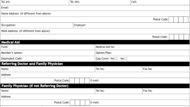 New patient form for specialists