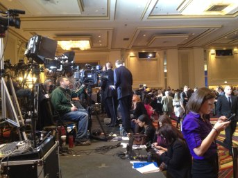 The press gears up for Bruce Rauner's election party Tuesday night at the Hilton Chicago.