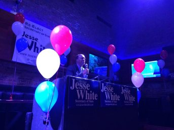 Illinois Secretary of State Jesse White (D) speaks to supporters at his Tuesday night election party at Chicago's John Barleycorn bar.