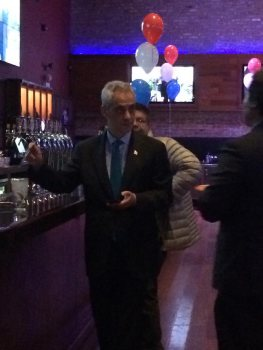 Mayor Rahm Emanuel rehydrates in preparation for a long election night.