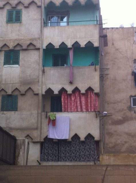Crudely screened balconies in Cairo image