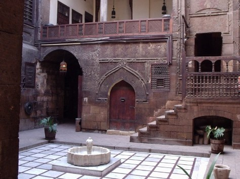 An image of a typical Mamluki courtyard house in Cairo, Egypt.