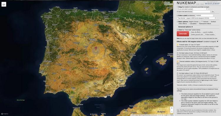 Nukemap, el mapa interactivo para conocer el efecto de una explosión nuclear en cualquier parte del mundo