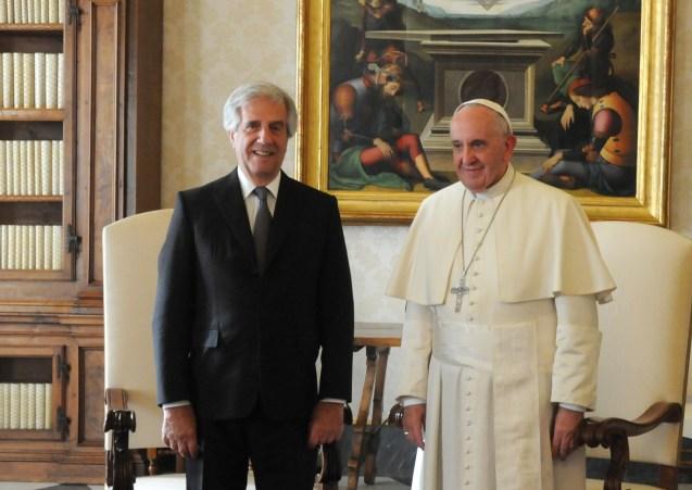 Uruguays Präsident Vázquez und Papst Franziskus