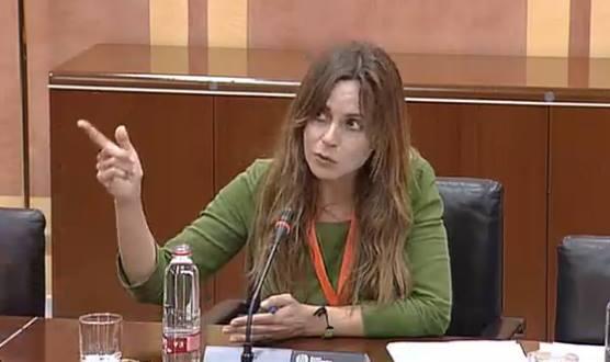 María Limón, presidenta de al ReMC, durante la comparecencia parlamentaria por la Ley Audiovisual de Andalucía