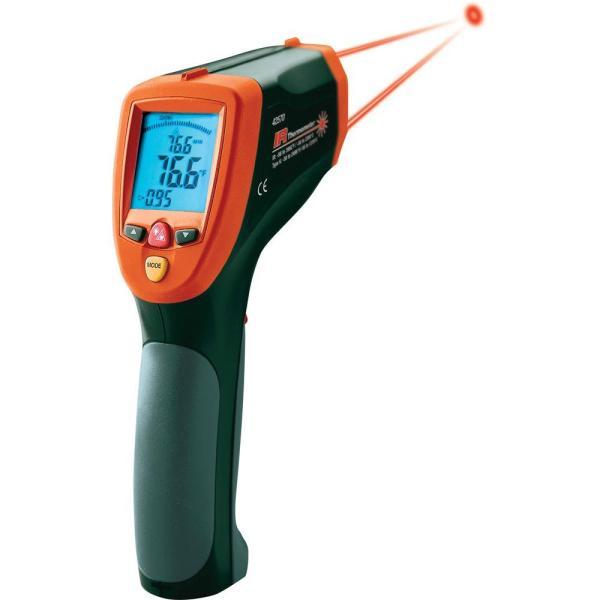 42570: Termómetro de infrarrojos de doble láser Termómetro de infrarrojos de amplio rango con entrada tipo K e interfaz USB
