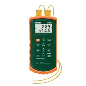 Termómetro de doble entrada tipo J/K con alarma