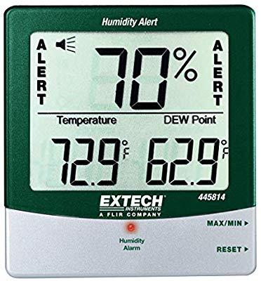 Alerta de humedad de higrotermómetro con punto de rocío