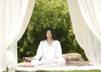 outdoor meditation space tent