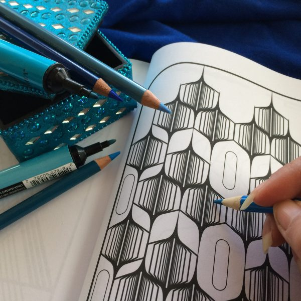 geometric stripes coloring book page