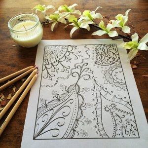 Whimsical paisley leaves design coloring page