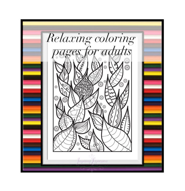 relaxing colorig page growing leaves