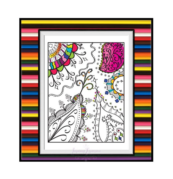Whimsical paisley leaves coloring page coloring idea