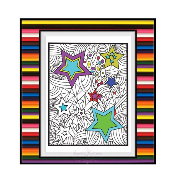 Relaxing coloring page with stars in the sky design coloring idea