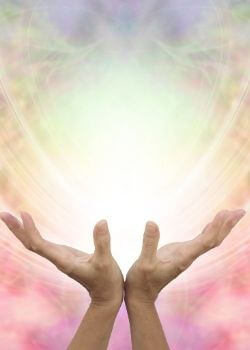 open hands surrendering to deal with difficult times