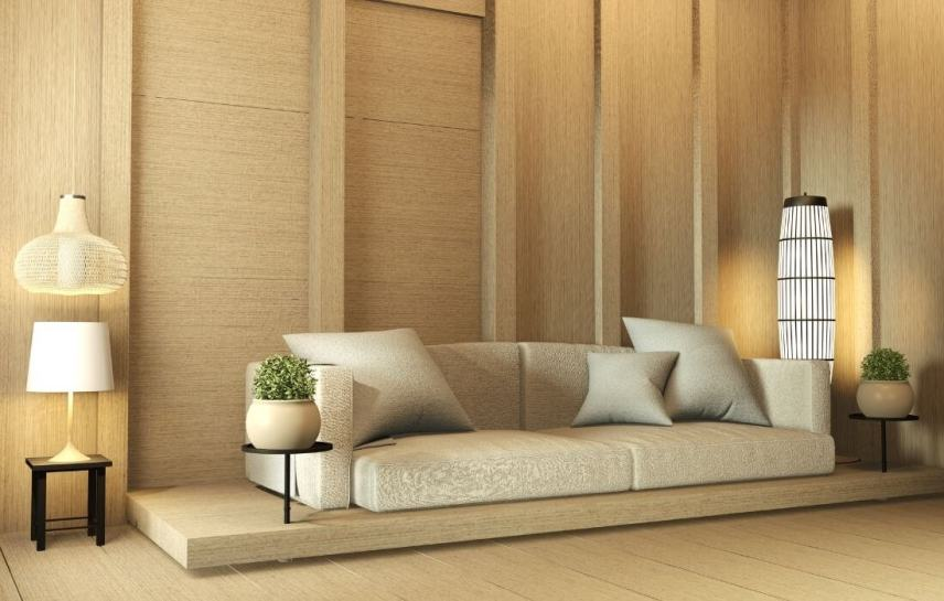 living room with zen floor couch
