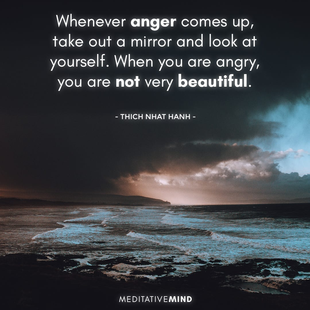 Whenever anger comes up,  take out a mirror  and look at yourself.  When you are angry,  you are not very beautiful.