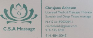 Chrisjana Acheson Licensed Medical Massage Therapist offers Swedish & Deep Tissue Massage