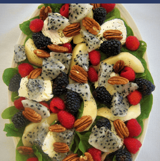 Dragon Fruit, Pear and Spinach Salad