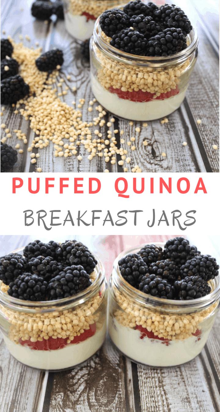 Puffed Quinoa or Quinoa Pops Breakfast Jars with Yogurt and Fruits