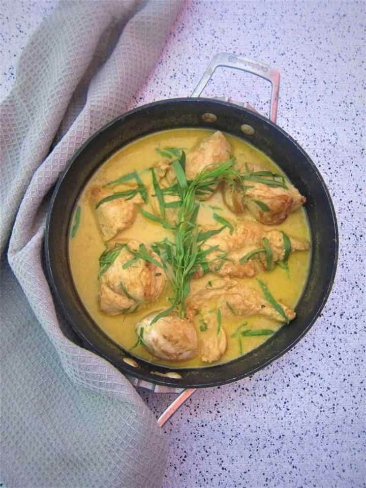Tarragon chicken with white wine sauce and Dion Mustard